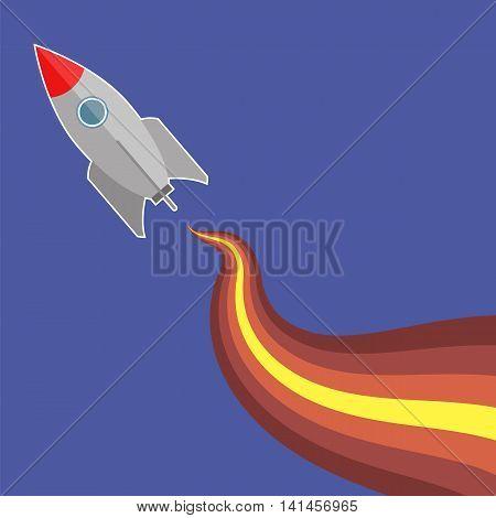 Space Rocket Flying on Blue Sky Background