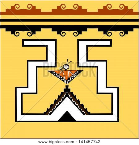 Ethnic pattern of American Indians: Aztecs, Mayans, Incas.  Butterfly. Decor in the Mexican style. Vector illustration.