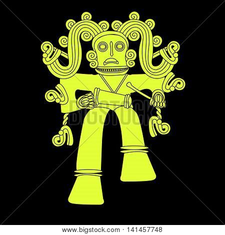Ethnic pattern of American Indians: Aztecs, Mayans, Incas. Golden monkey beats the drum. Decor in the Mexican style. Vector illustration.