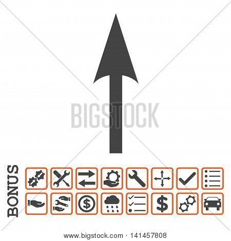 Sharp Arrow Up icon with bonus pictograms. Vector style is flat iconic symbol, orange and gray colors, white background. Bonus style is bicolor square rounded frames with symbols inside.