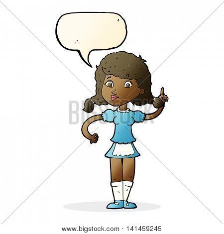 cartoon pretty maid woman with speech bubble