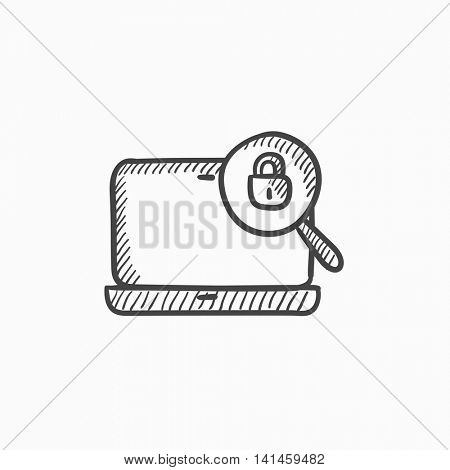 Laptop and magnifying glass vector sketch icon isolated on background. Hand drawn Laptop and magnifying glass icon. Laptop and magnifying glass sketch icon for infographic, website or app.