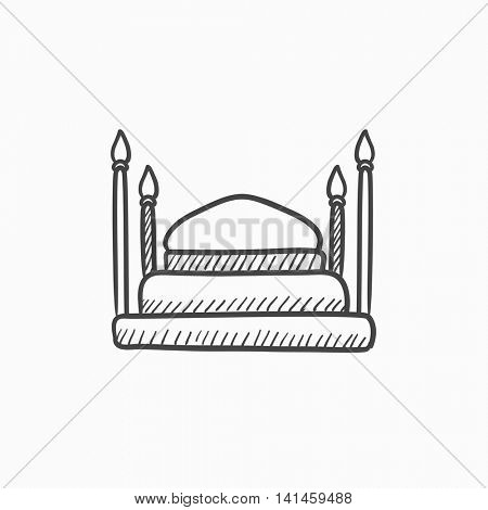 Taj Mahal vector sketch icon isolated on background. Hand drawn Taj Mahal icon. Taj Mahal sketch icon for infographic, website or app.