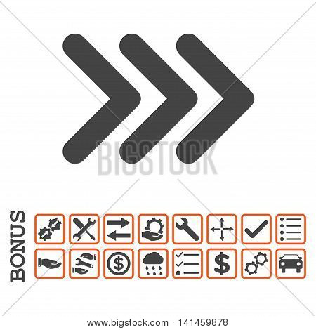 Triple Arrowhead Right icon with bonus pictograms. Vector style is flat iconic symbol, orange and gray colors, white background. Bonus style is bicolor square rounded frames with symbols inside.