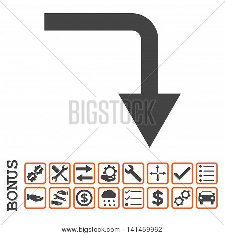 Turn Down icon with bonus pictograms. Vector style is flat iconic symbol, orange and gray colors, white background. Bonus style is bicolor square rounded frames with symbols inside.