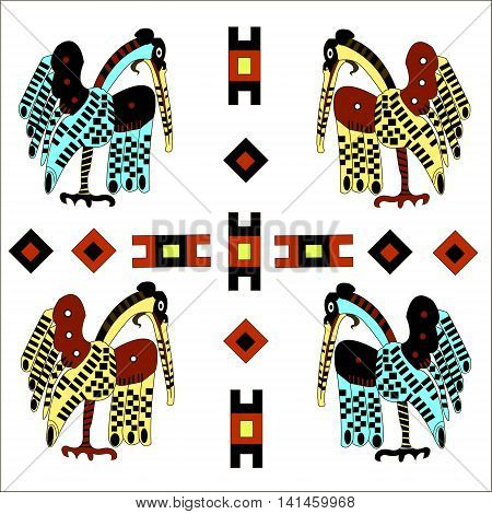 Ethnic pattern of American Indians: the Aztecs, the Mayans, the Incas. Heron. Vector illustration
