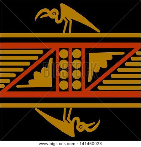 Ethnic pattern of American Indians: Aztecs, Mayans, Incas. Andean condor. Drawing in the Mexican style. Vector illustration.