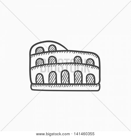 Coliseum vector sketch icon isolated on background. Hand drawn Coliseum icon. Coliseum sketch icon for infographic, website or app.