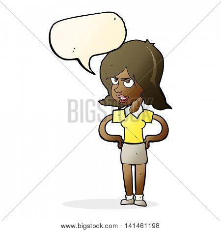 cartoon annoyed woman with hands on hips with speech bubble