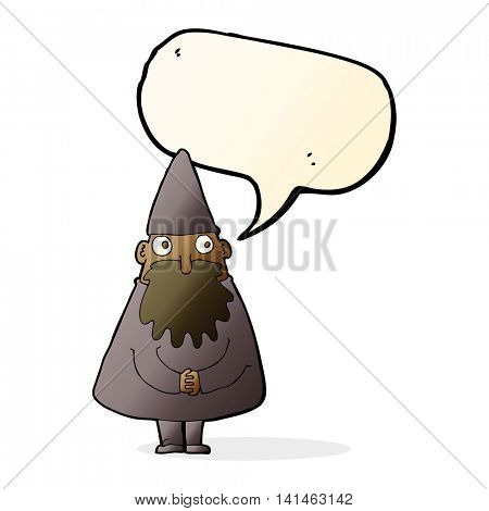 cartoon wizard with speech bubble