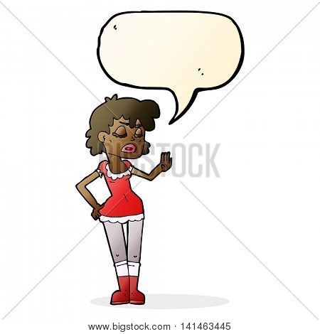 cartoon woman making dismissive gesture with speech bubble
