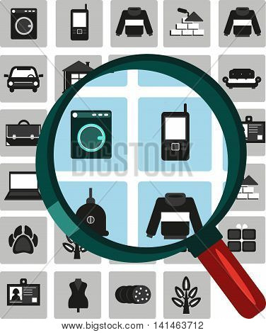 Vector set icons for ads. Selling buying. Selling buying exchange. Cars real estate clothing jobs services appliances business animals plants. Search.