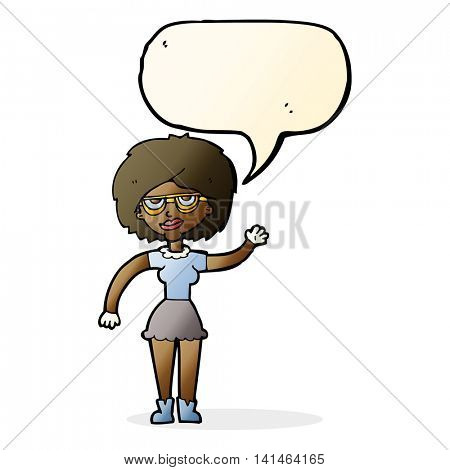 cartoon waving woman wearing spectacles with speech bubble