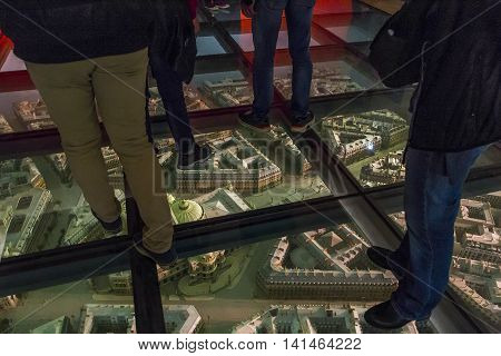 PARIS, FRANCE - MAY 14, 2015: It's a glass floor with the layout of the Grands Boulevards at the Orsay Museum.