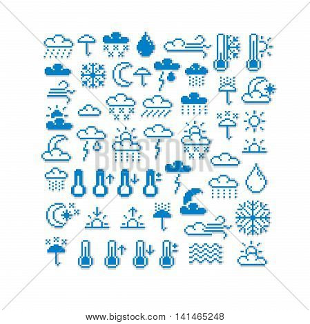 Vector pixel icons isolated collection of 8bit meteorology graphic elements.