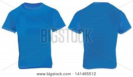 Vector illustration of blank navy blue men t-shirt template front and back design isolated on white