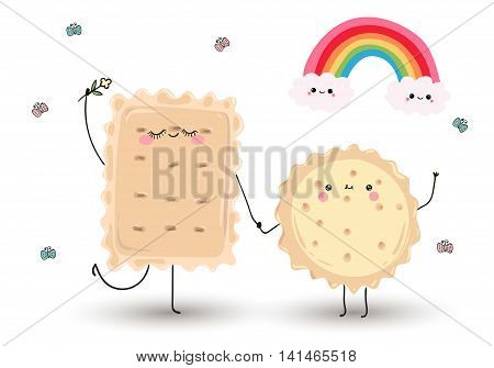 cute cartoon hand drawn funny cookies.  They are happy. Flowers, butterflies and rainbow .