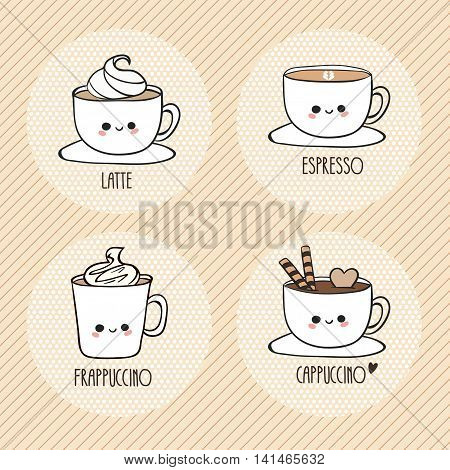 Cute cups of coffee. Latte, espresso, frappuccino, cappuccino. Vector