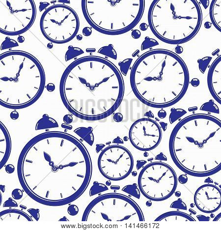 Seamless pattern with simple timers classic vector stopwatches.