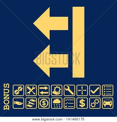 Bring Left icon with bonus pictograms. Vector style is flat iconic symbol, yellow color, blue background. Bonus style is square rounded frames with symbols inside.