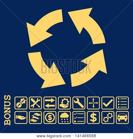 Circulation icon with bonus pictograms. Vector style is flat iconic symbol, yellow color, blue background. Bonus style is square rounded frames with symbols inside.