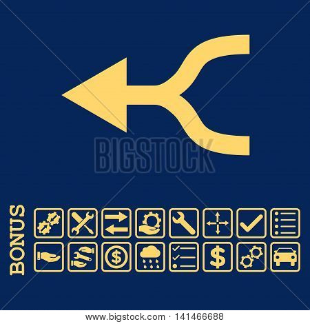 Combine Arrow Left icon with bonus pictograms. Vector style is flat iconic symbol, yellow color, blue background. Bonus style is square rounded frames with symbols inside.