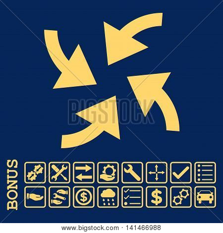 Cyclone Arrows icon with bonus pictograms. Vector style is flat iconic symbol, yellow color, blue background. Bonus style is square rounded frames with symbols inside.