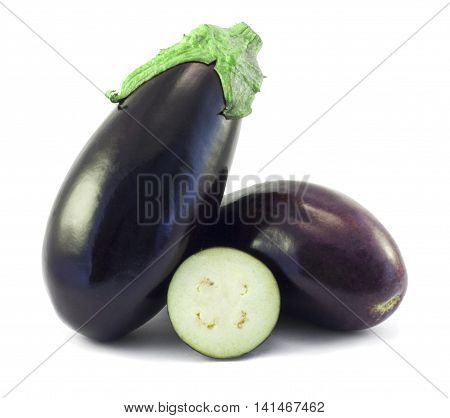 Whole aubergines and slices isolated on white background as package design element for square composition