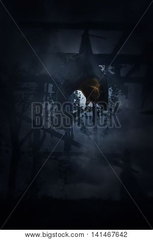 Bat scream and hang over old damage wooden window and cloudy sky Spooky background Halloween concept