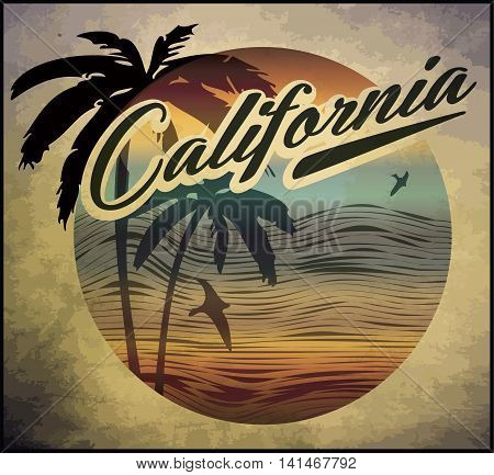 California beach Surf club concept Vector Summer surfing retro badge. Surfer club emblem; outdoors banner; vintage background