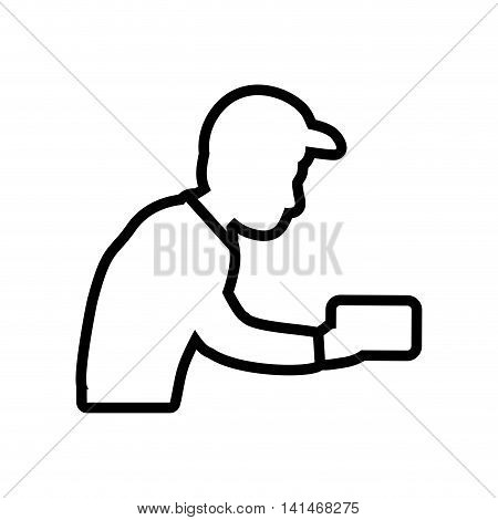 postman envelope delivery shipping logistic security icon. Isolated and flat illustration. Vector graphic