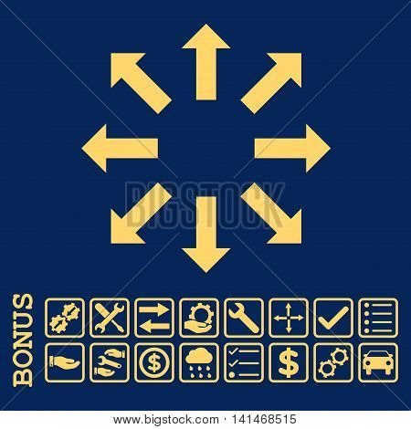 Explode Arrows icon with bonus pictograms. Vector style is flat iconic symbol, yellow color, blue background. Bonus style is square rounded frames with symbols inside.