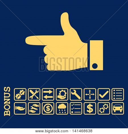 Hand Pointer Left icon with bonus pictograms. Vector style is flat iconic symbol, yellow color, blue background. Bonus style is square rounded frames with symbols inside.
