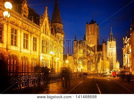 Saint Nicholas Church and Belfry tower, one of famous landmarks of Ghent, Gent in Flanders, Belgium, toned