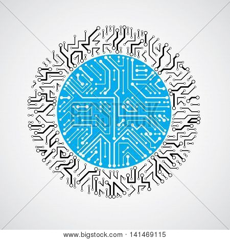 Round Circuit Board With Electronic Components Of Technology Device. Computer Motherboard Cybernetic