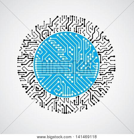 Vector Circuit Board Circle, Digital Technologies Abstraction. Blue Computer Microprocessor Scheme,
