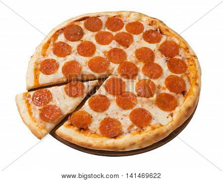 Tasty pizza with pepperoni isolated on white