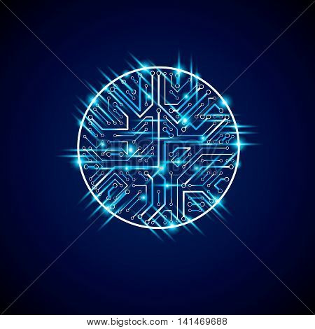 Futuristic Cybernetic Scheme, Vector Motherboard Blue Illustration With Neon Lights. Circular Gleam