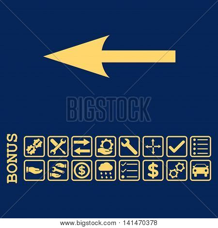 Sharp Arrow Left icon with bonus pictograms. Vector style is flat iconic symbol, yellow color, blue background. Bonus style is square rounded frames with symbols inside.