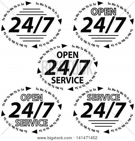 SET LOGO round the clock 24 hours a day and 7 days a week support OPEN service icon, vector illustration for print or website design
