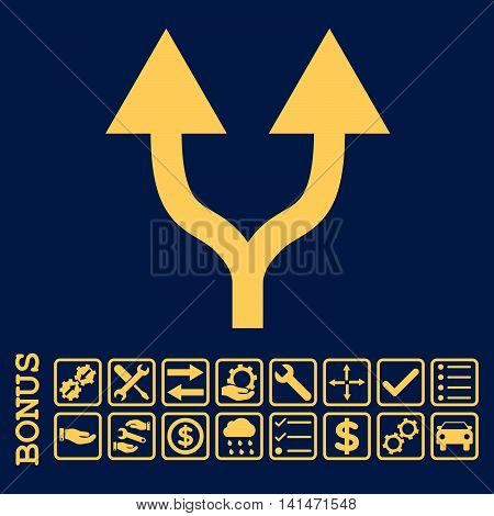 Split Arrows Up icon with bonus pictograms. Vector style is flat iconic symbol, yellow color, blue background. Bonus style is square rounded frames with symbols inside.