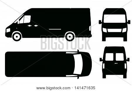 Commercial van bus icon set vector illustration