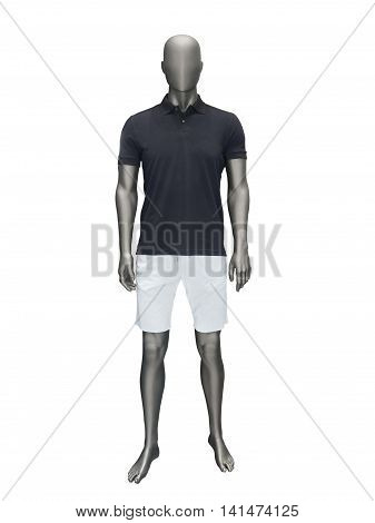 Male mannequin in summer clothes isolated on white background.