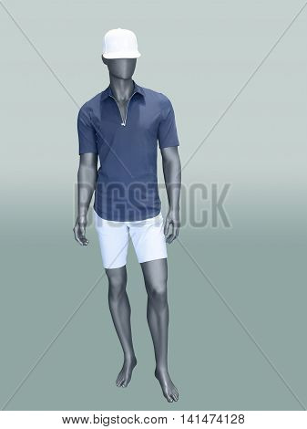Male mannequin in summer clothes over green background.