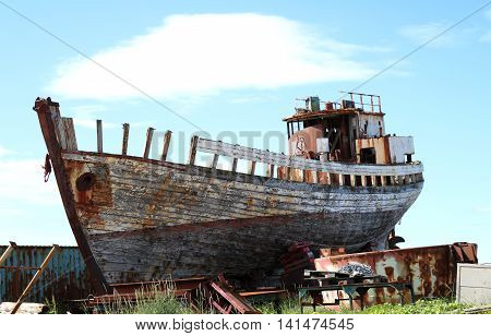 old wreck of wood ship - boat of ghost