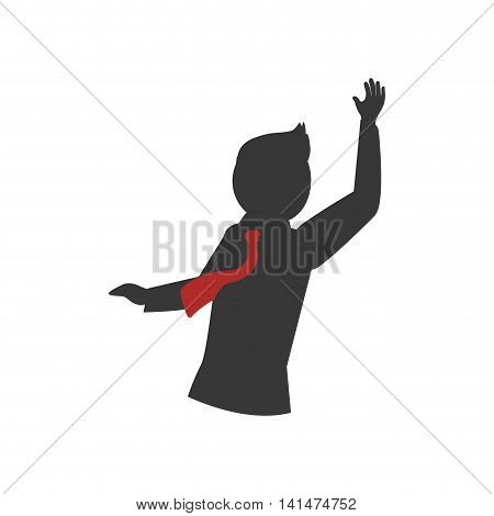 Man necktie businessman male avatar person silhouette icon. Isolated and flat illustration. Vector graphic