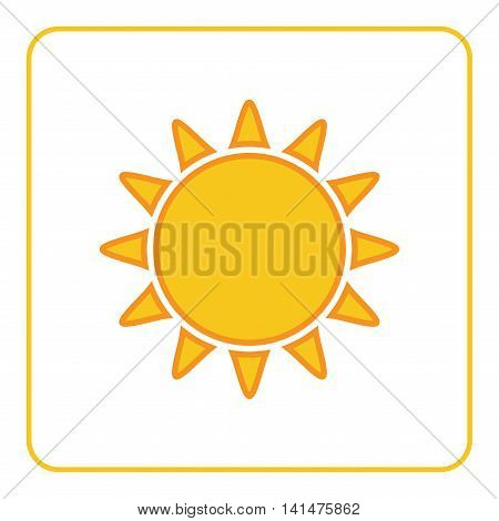 Sun icon. Light sign with sunbeams. Yellow design element isolated on white background. Symbol of sunrise heat sunny and sunset sunlight. Flat modern style for weather forecast Vector Illustration