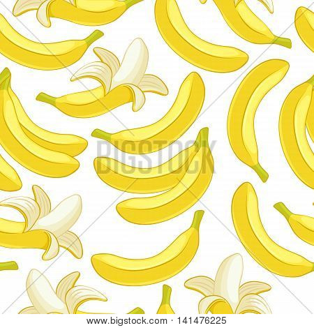 Bananas seamless pattern. Tropic fruits background. Peeled and whole bananas.