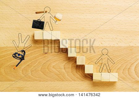 staircase with drawn person representing the rise and fall of a businessman