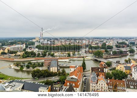Wroclaw On A Cloudy Day As Seen From The Tower.